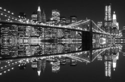 Fototapeta do sypialni - New York (Brooklyn Bridge night BW) - 175x115 cm