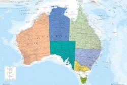 Australia Mapa - plakat
