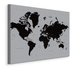 Obraz na płótnie - Mapa Świata - World Map - (Contemporary) - 90x120 cm