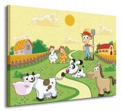 Farmer i zwierzaki - Obraz na płótnie