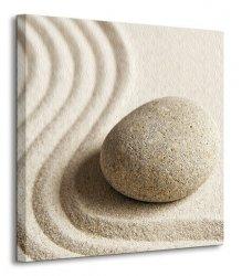 Kamień i wzory na piasku - Obraz na płótnie
