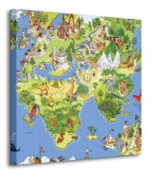 Obraz dla dzieci - Mapa Świata - 40x40 cm