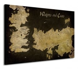 Obraz do salonu - Game of Thrones (Westeros and Essos Antique Map)
