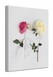 Obraz na ścianę - pink and white roses - 40x50 cm