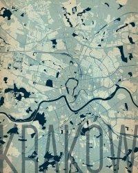 Plakat ścienny - Kraków - Artystyczna mapa - 40x50 cm