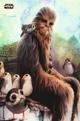 Star Wars The Last Jedi Chewbacca & Porg - plakat