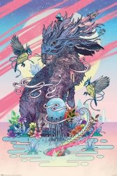 Kolorowy Zając w masce - plakat