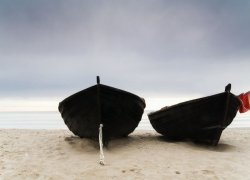 Fototapeta na ścianę - Łodzie na plaży - 254x183 cm