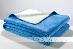 Koc - Niebiesko - Kremowy - 150x200 cm - blue&ecrue