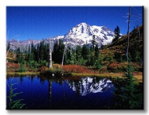 Obraz ścienny - Górskie jezioro - 120x90 cm