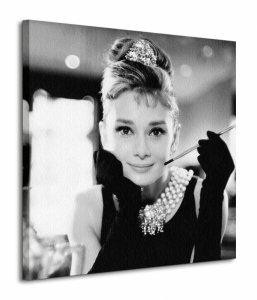 Audrey Hepburn (Breakfast at Tiffany's B&W) - Obraz na płótnie