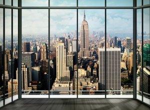 Fototapeta do salonu - Nowy Jork - Widok z okna Apartament - 315x232 cm - KLEJ GRATIS!