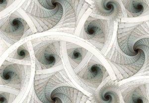 Spiralne, kolorowe fractale - fototapeta