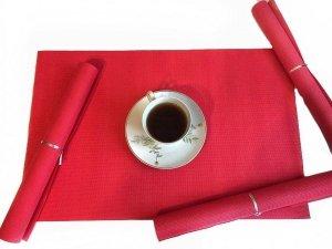 Podkładki na stół - Czerwone - Komplet 4szt