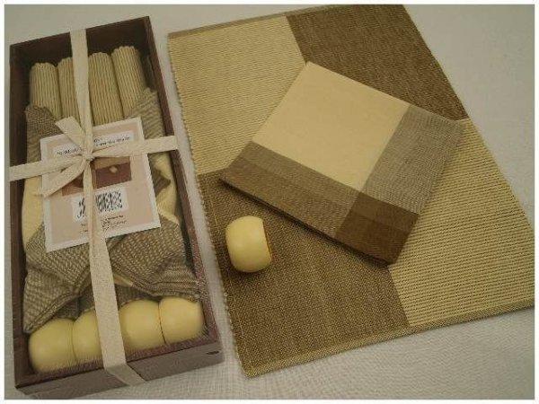 Podkładki na stół + Serwetki + Obrączki na serwetki x 4-szt - Piasek