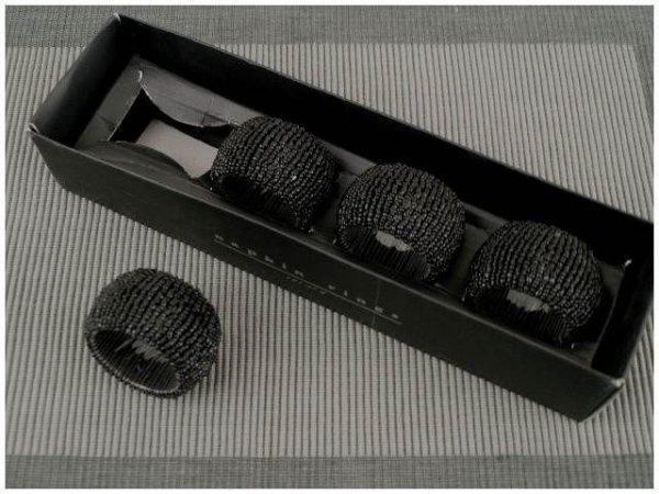 Obrączki na serwetki - Czarne - Koral - 4szt/op