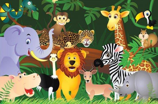 Fototapeta dla dzieci - Dzikie zwierzaki - Fototapety dla dzieci - decoart24.pl