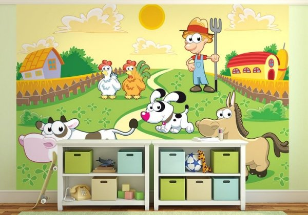 Fototapeta dla dzieci - Farmer i zwierzaki - 254x183 cm - sklep