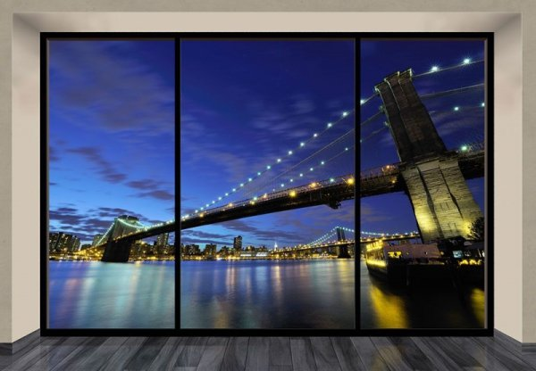 Fototapeta na ścianę - Brooklyn Bridge nocą (window) - 366x254 cm