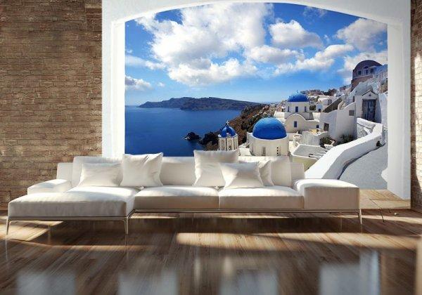 Fototapeta Na Ścianę - Panorama Santorini (okno) 366x254 cm