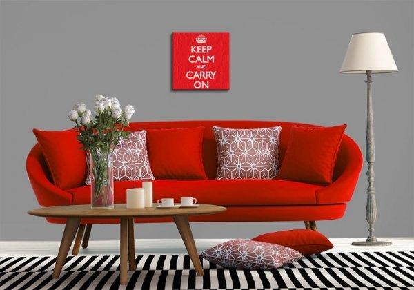 Keep Calm and Carry On (Red) - Obraz na płótnie