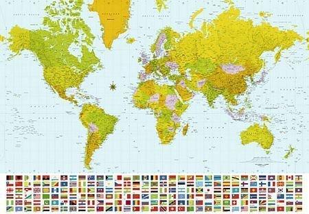 Fototapeta na ścianę - Mapa Świata 2007 - 366x254 cm - Sklep decoart24