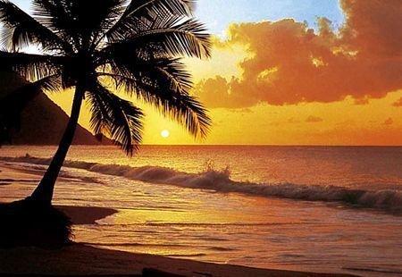 Fototapeta zachód słońca nad Pacyfikiem - Sklep decoart24.pl