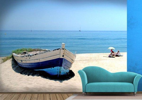 Fototapeta Stara łódź na plaży - 254x183 cm - Sklep decoart24.pl