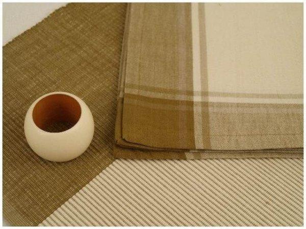 Podkładki na stół + Serwetki + Obrączki na serwetki x6-szt - Kremowo-Brązowe