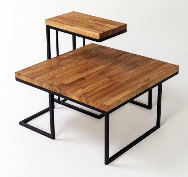 Stolik metalowy z drewnianym dębowym blatem - DecoArt24.pl