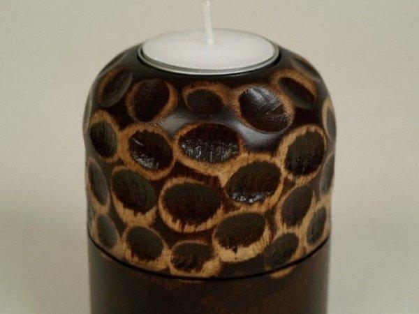 Świecznik - Słoje - Drewniany - 8x10cm