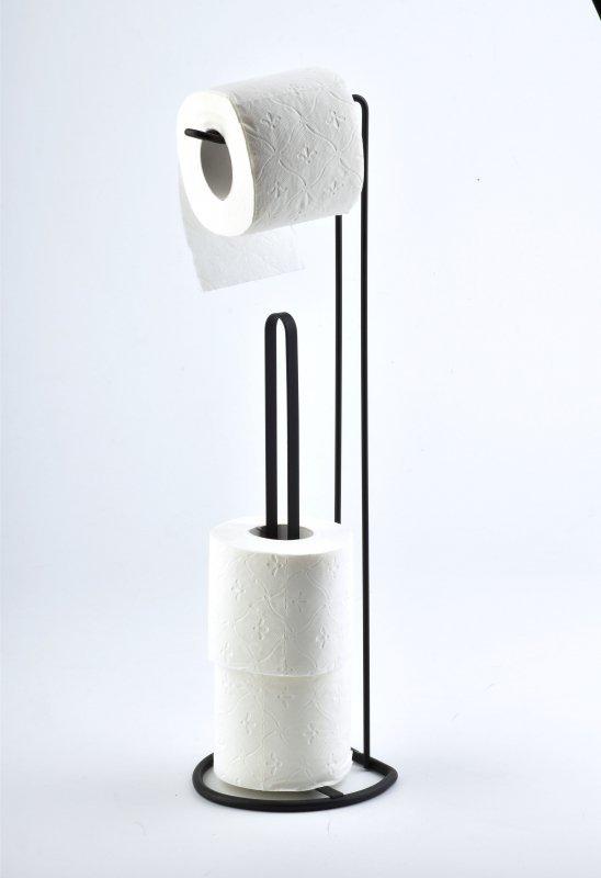 Stojak na papier toaletowy - Uchwyt łazienkowy - Czarny - 52cm - wyposażenie łazienki - decoart24.pl