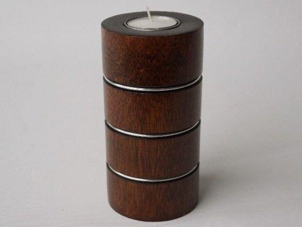 Świecznik - Pierścienie - Drewniany - 8x15cm