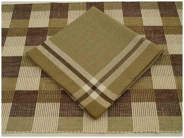 Podkładki na stół + Serwetki x 4-szt - Brązowo-biało-beżowy