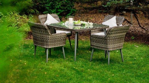 Meble ogrodowe - BASSO - technorattan stół 4 + krzesła - decoart24.pl