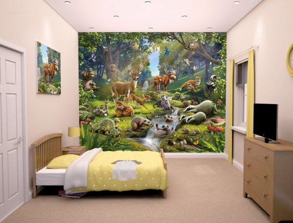 Fototapeta dla dzieci - Animal Forest 3D - 244x305cm