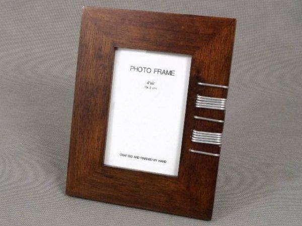 Ramka na zdjęcia - Drewniana - Metal - 10x15cm