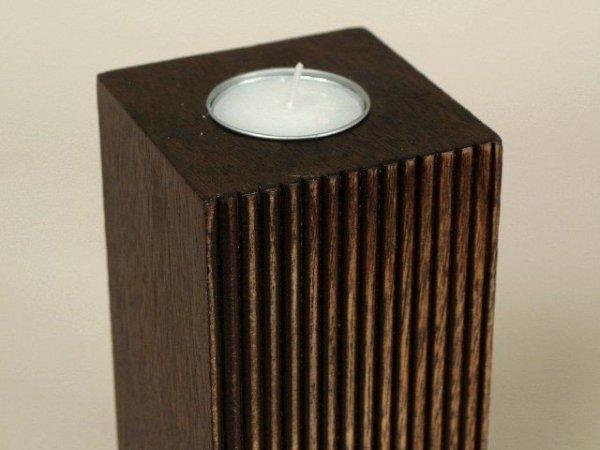 Świecznik - Zdobiony Ręcznie - Drewniany - 8x8x15cm
