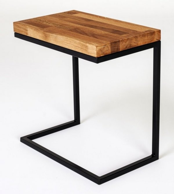 Stolik metalowy z drewnianym blatem - Functional - Mały - Dekoracje do domu - Sklep DecoArt24.pl