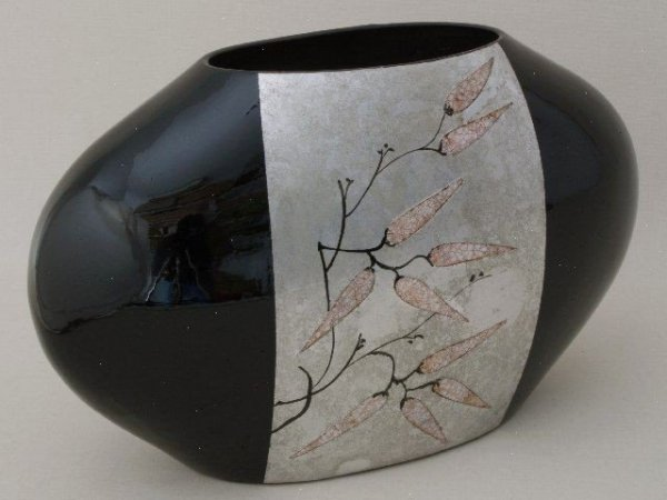 Wazon ceramiczny - Srebrno-Czarny - Azja - 44x17,5x26,5cm