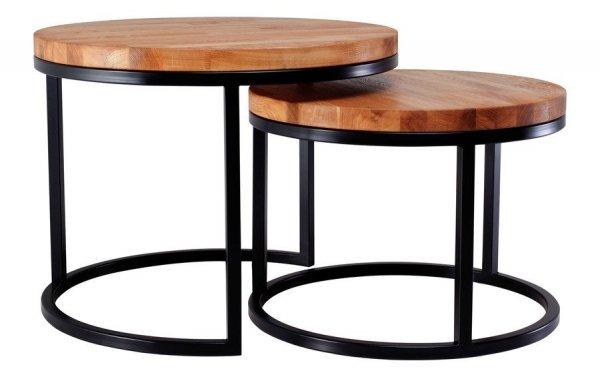 Stolik Loft z drewnianym blatem - 60cm