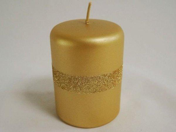 Świeca ozdobna - Złota - velvet/glitter - 7x10cm