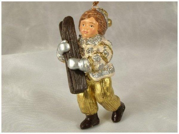 Ozdoba choinkowa - Dziecko z nartami - 10cm (6szt w opakowaniu)