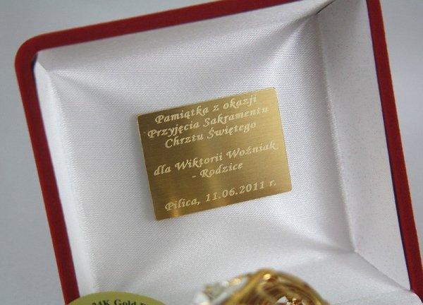 Grzechotka 24-k Swarovski Etui+GRAWER Chrzciny