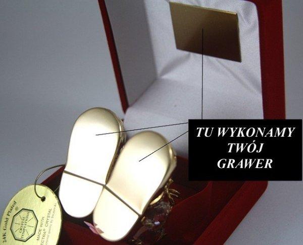 Buciki Swarovski Różowe Etui +GRAWER Chrzest