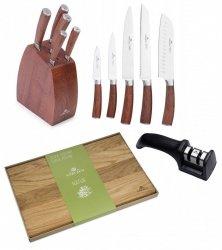 Noże Gerlach 979 COLONIAL | zestaw 5 noży w bloku | ostrzałka Gerlach dwufazowa + Deska NATUR 45x30 cm