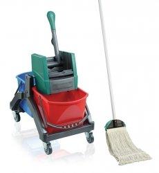 Zestaw Leifheit Professional   Wózek do sprzątania Leifheit Duo + Mop SZNURKOWY Leifheit Professional z nakładką   59101/59120
