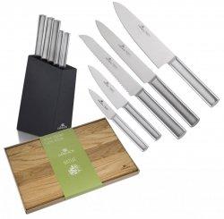 Noże Gerlach 983 Ambiente Silver zestaw noży + blok + Deska Gerlach Natur 45x30 cm