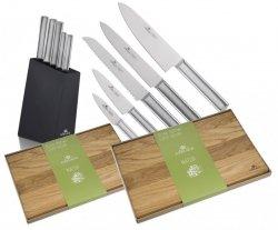 Noże Gerlach 983 Ambiente Silver zestaw noży + blok + Deska Gerlach Natur 30x24 cm + 45x30 cm