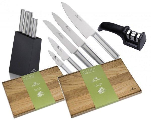 Noże Gerlach 983 Ambiente Silver zestaw noży + blok + Deska Gerlach Natur 30x24 cm + 45x30 cm + Ostrzałka Gerlach dwufazowa